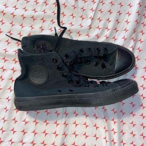 COPY - All black Converse high tops, men's size 8
